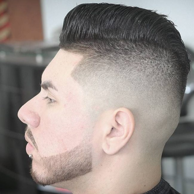 Mohawk Pomp with Sharp Fade