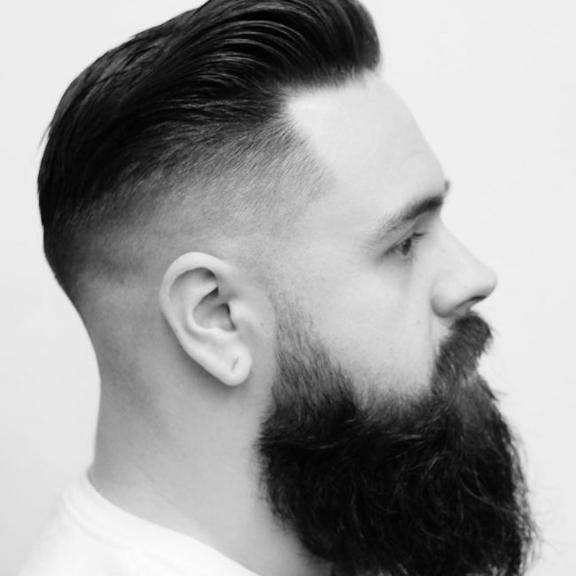 Skin Fade on Sides and Classic Pomp at the Top