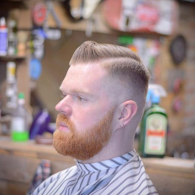 Small Quiff with Hard Part Skin Fade