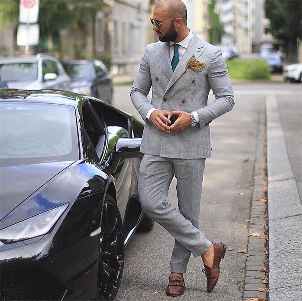 Mens Gray Suit Brown Shoes