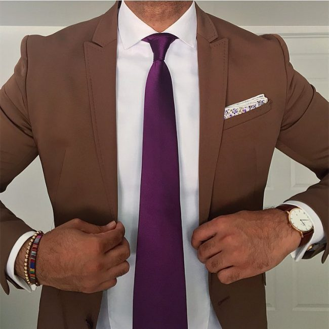 Brown suit purple tie hardon clothes for Ties that go with purple shirts