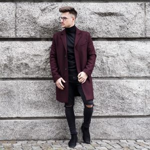 1-maroon-trench-and-ripped-jeans