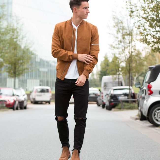 lovely brown jacket outfit for men