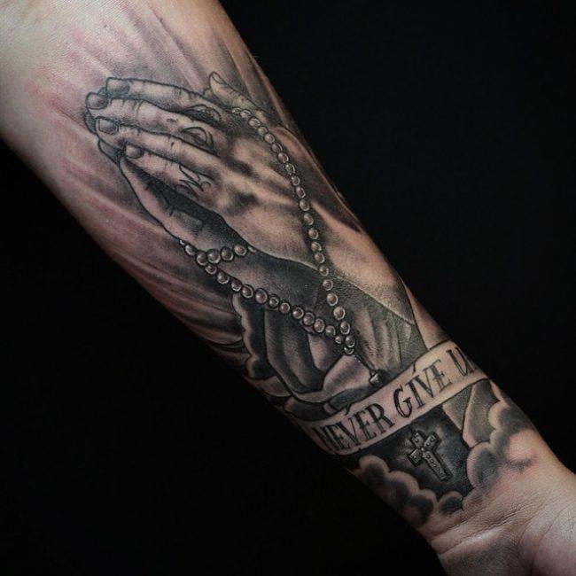 4ccdea708767d 60 Praying Hands Tattoo Designs - Show Devoutness and Religious Belief