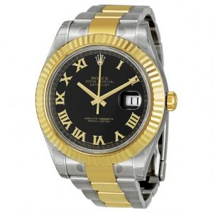 rolex-datejust-ii-black-roman-dial-18k-yellow-gold-fluted-bezel-two-tone-oyster-bracelet-mens-watch-116333bkro