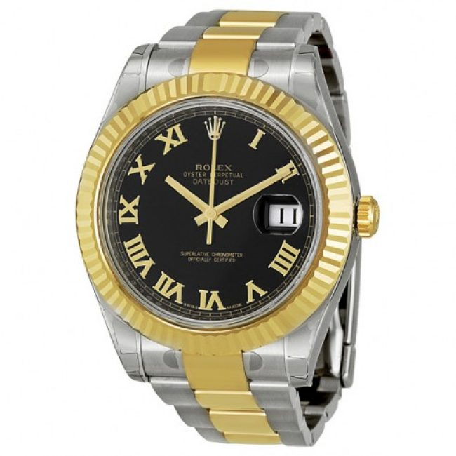 rolex-datejust-ii-black-roman-dial-18k-yellow-gold-fluted-bezel-two-tone-oyster-bracelet-mens-watch-116333bkro
