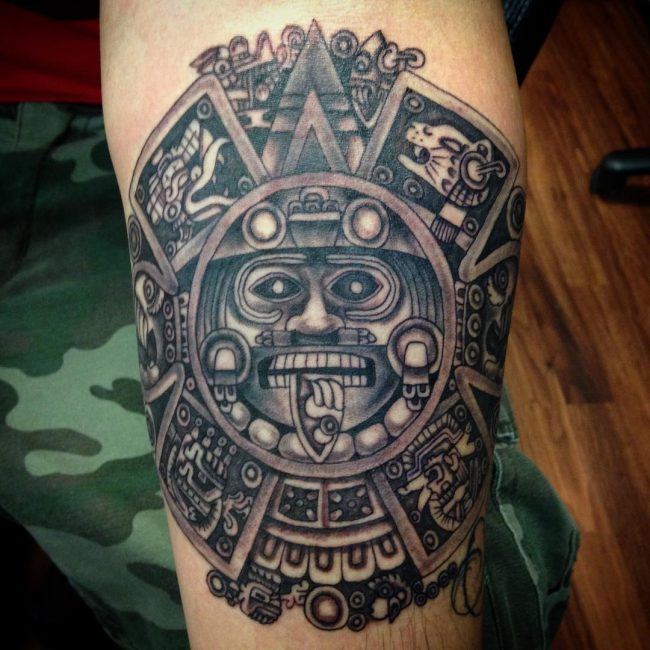 85 mighty aztec tattoo designs striking provocative and for Aztec hand tattoo