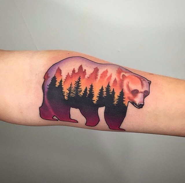 27 Awesome Picturesque Landscape Tattoo Designs: 40 Incredible Bear Tattoo Ideas