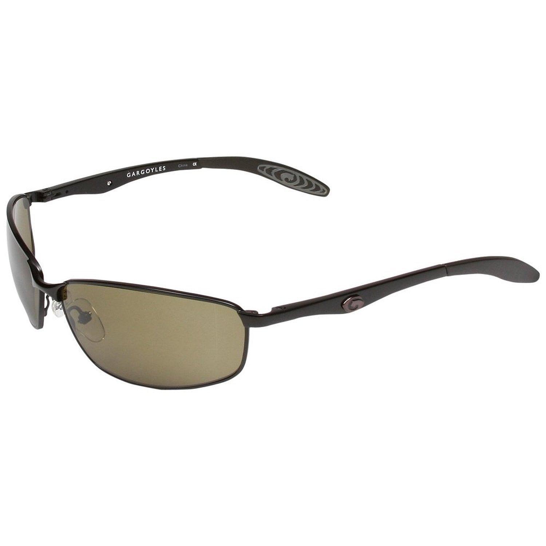 Gargoyles Men's Traction Polarized Metal Sunglasses,Black Frame/Green Lens,One Size