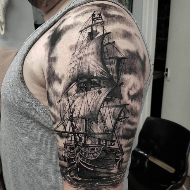 85 striking pirate ship tattoo designs bonding with masters of the seas. Black Bedroom Furniture Sets. Home Design Ideas