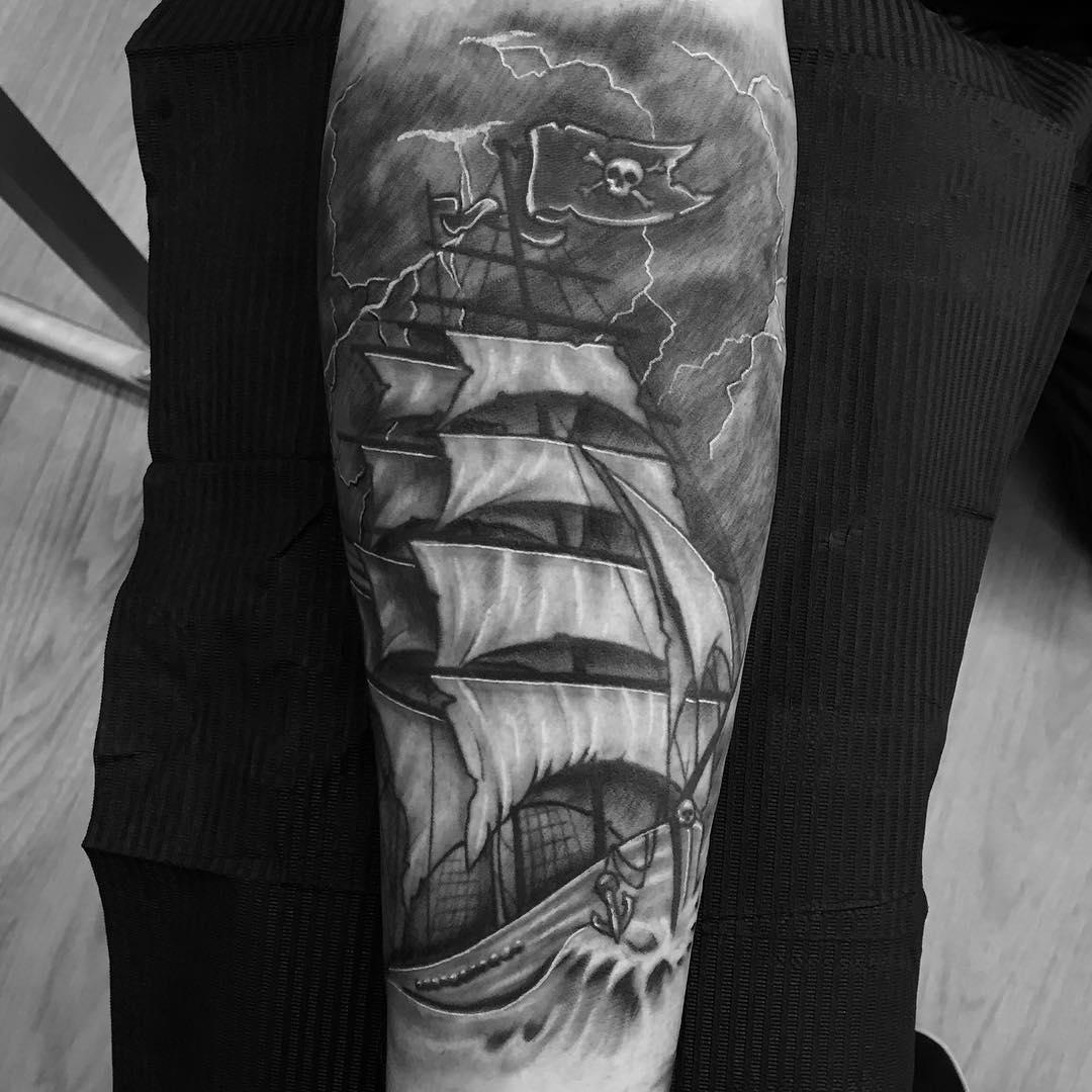 85 Striking Pirate Ship Tattoo Designs - Bonding with