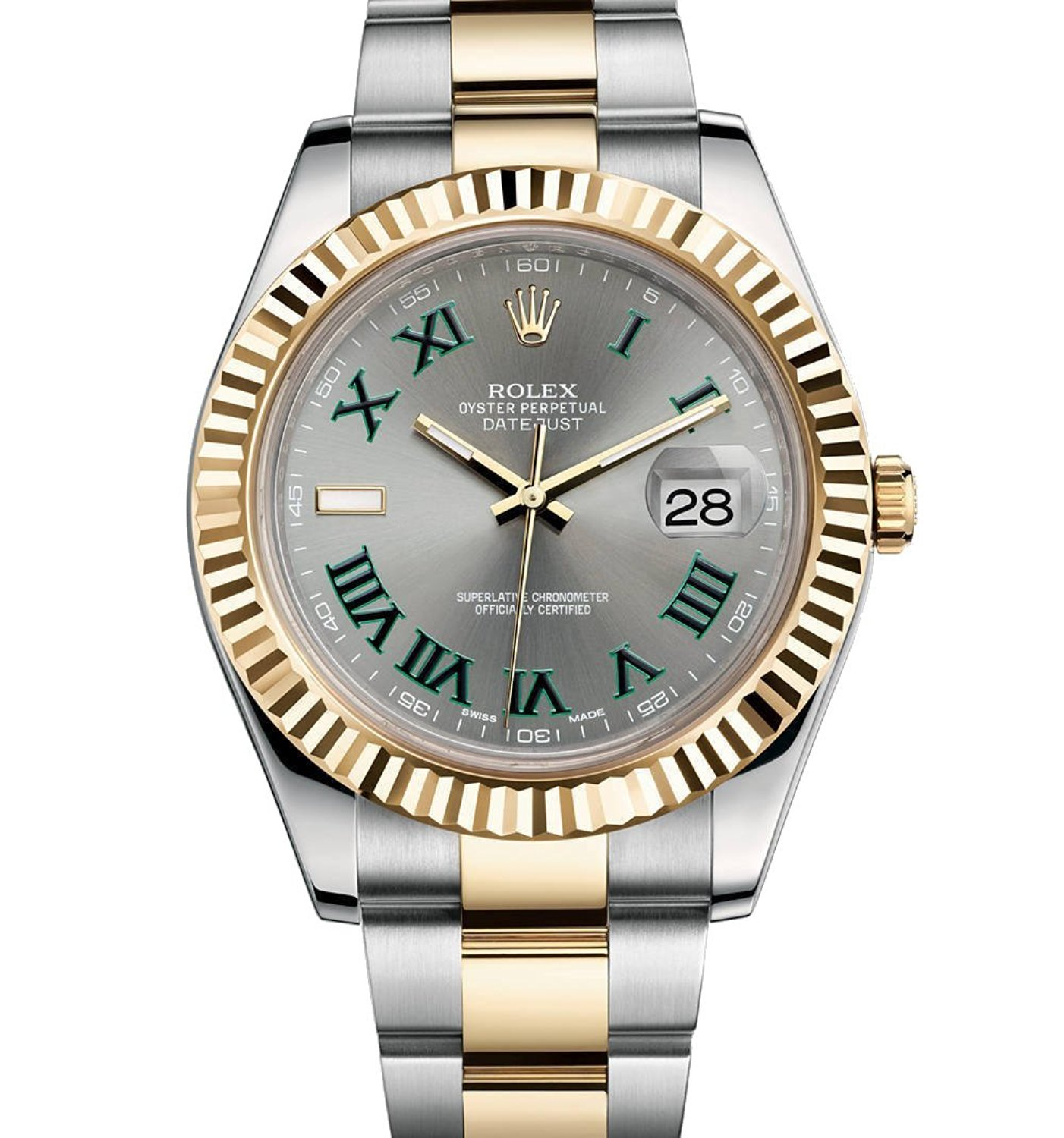 ROLEX DATEJUST II 2 STEEL & YELLOW GOLD WATCH GREY AND GREEN...