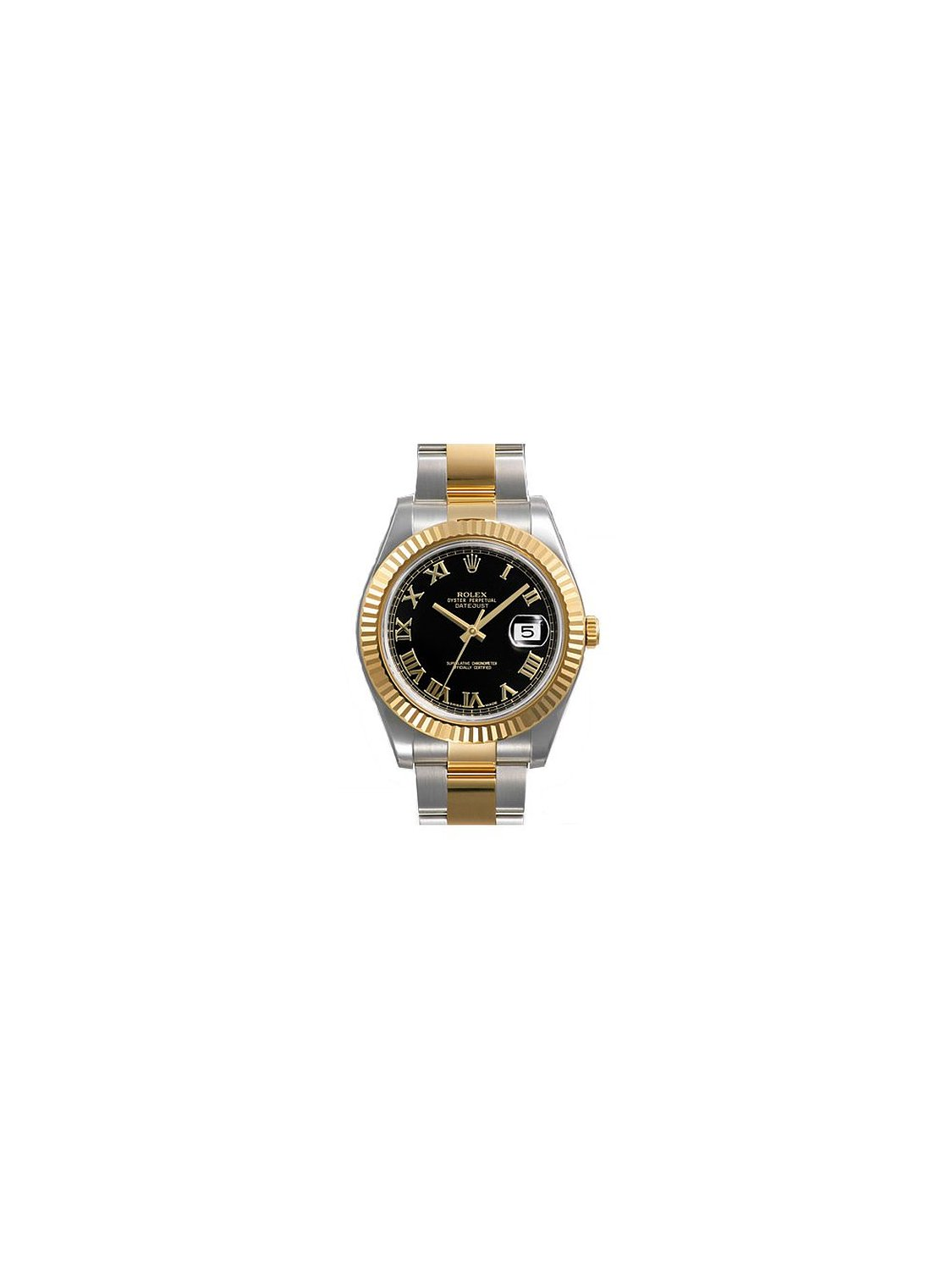Rolex Datejust II Black Roman Dial 18k Yellow Gold Fluted Bezel Two...