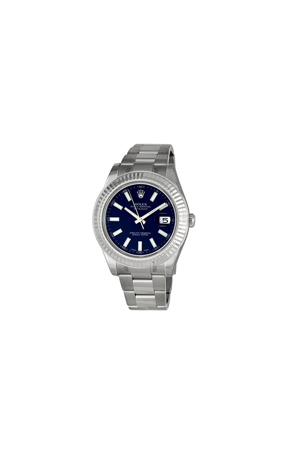 Rolex Datejust II Blue Index Dial Fluted 18k White Gold Bezel Oyster...