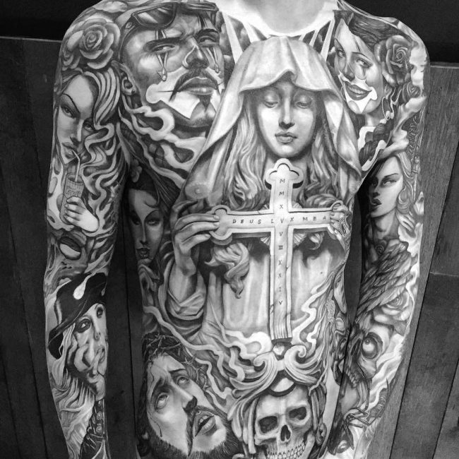 55 lovely virgin mary tattoo ideas the classy and timeless design. Black Bedroom Furniture Sets. Home Design Ideas