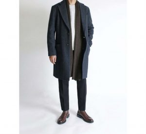 1 A Grey Long Coat & Black Trousers