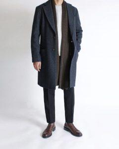 1 A Grey Long Coat & Black Trousers