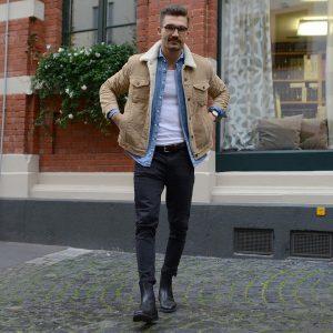1 Black Casual Boots & Slim Fitting Black Pants