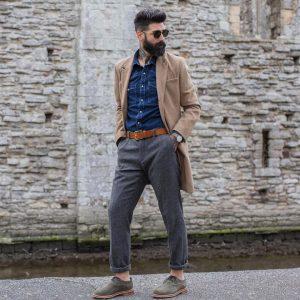 1 Blue Denim Shirt & Grey Trousers