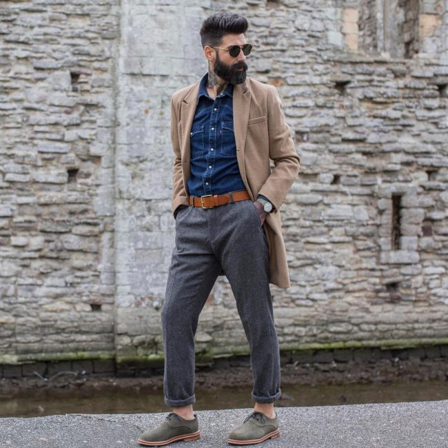 1 Blue Denim Shirt & Grey Trousers
