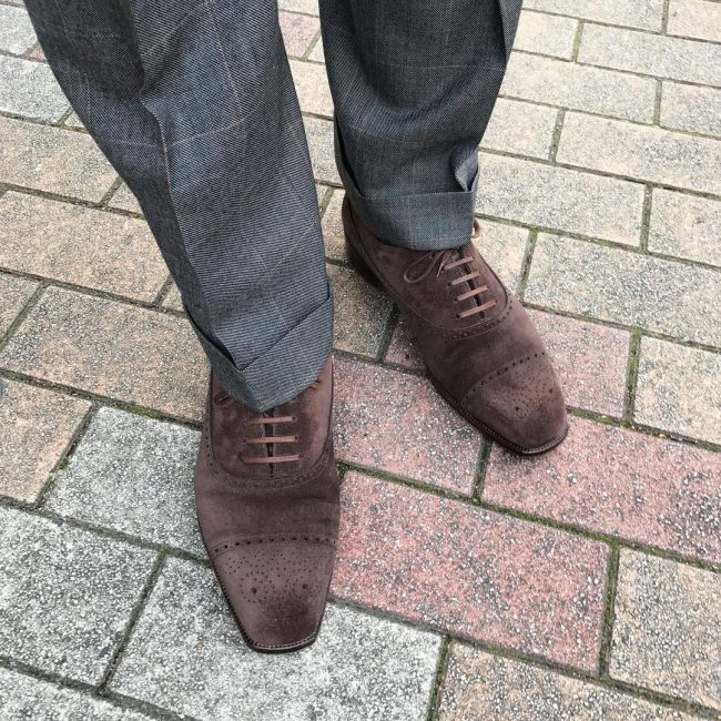 1 Brown Suede Brogue Shoes & Checkered Grey Suit
