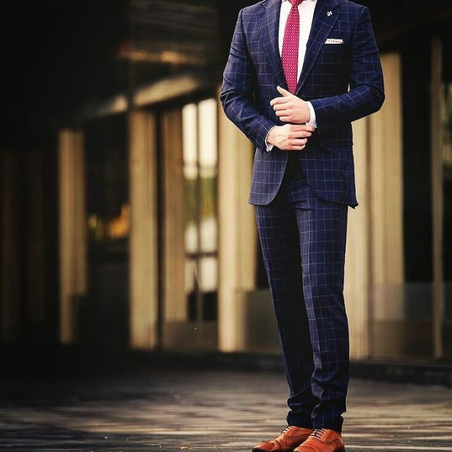 1 Checkered Dark Slate Blue Suit & Brown Leather Shoes