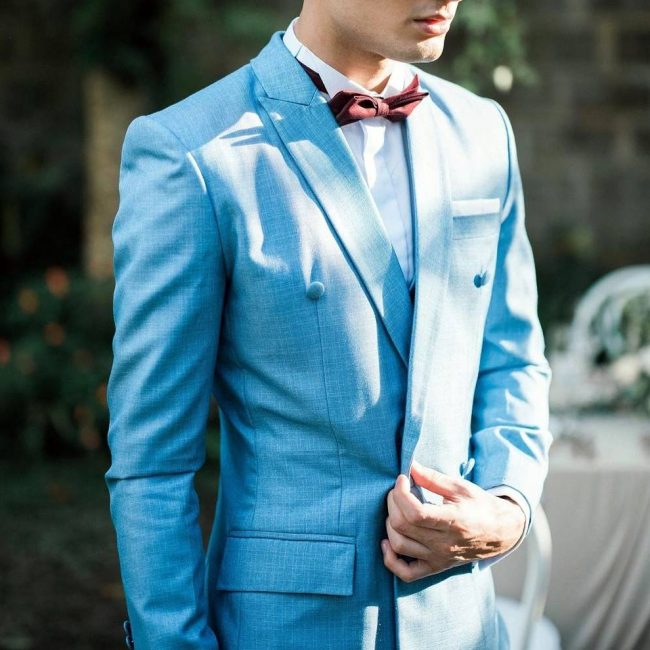 1 Clean Light Blue Suit With Bow Tie