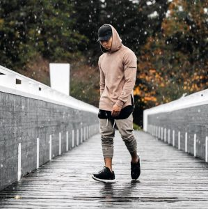 1 Grey Joggers and Extended Brown Hoodie