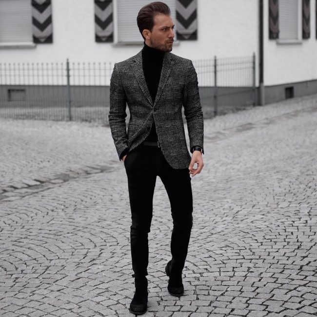 1d30fb4555 1 The Classical Look. Source. This combination of black pants ...