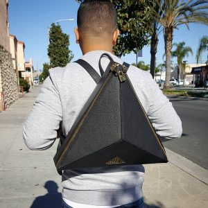 1 Triangle-Shaped Black Backpack & Grey Sweater