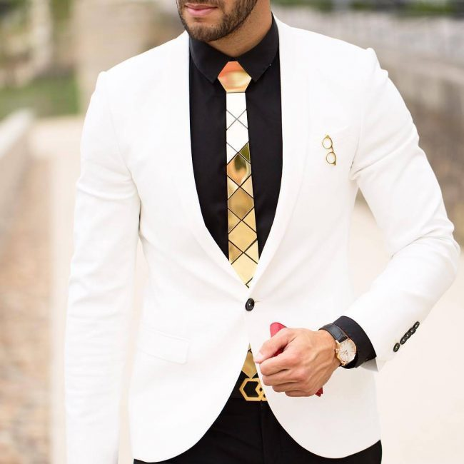 1 White Blazer with Black Outfit