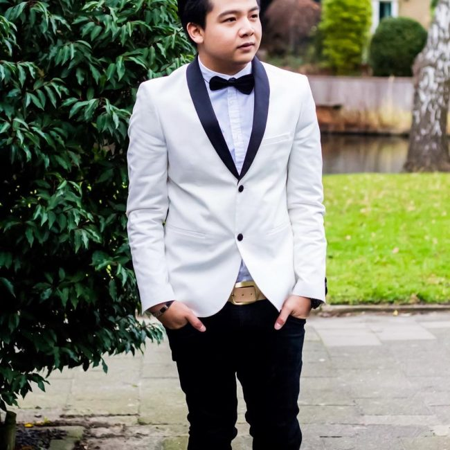 1 White Suit and Black Bow Tie
