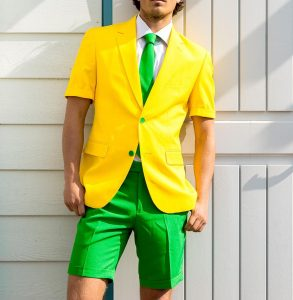1 Yellow and Green Shorts Suit