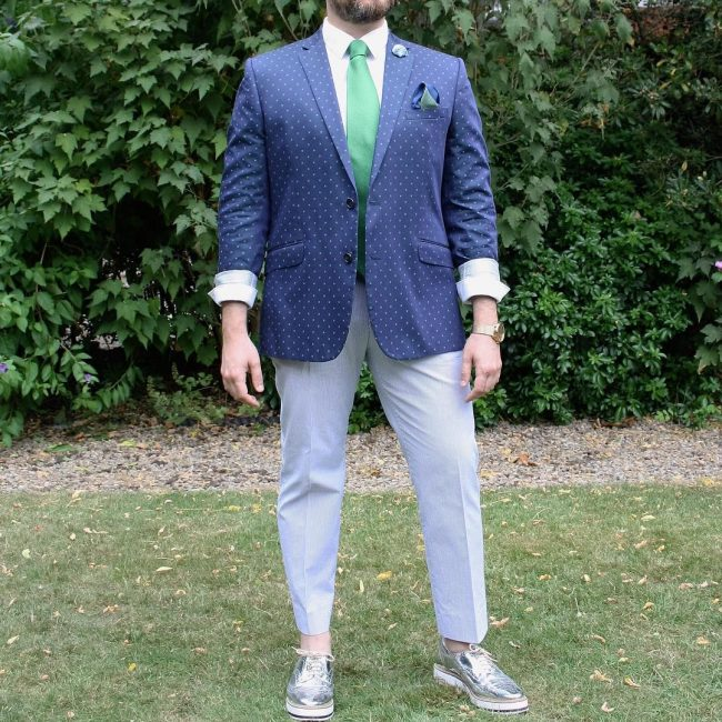 10 Clashed Blue and Pale Grey Suit