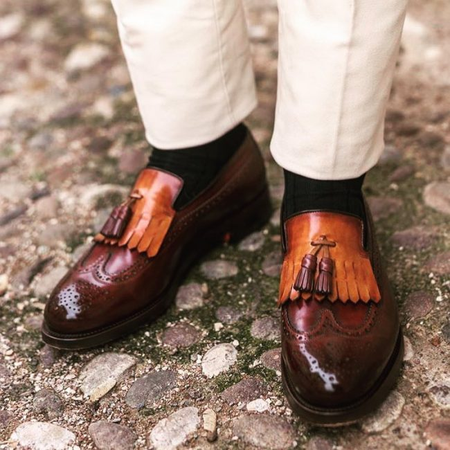 10 Styled Brown Loafers & Beige Pants