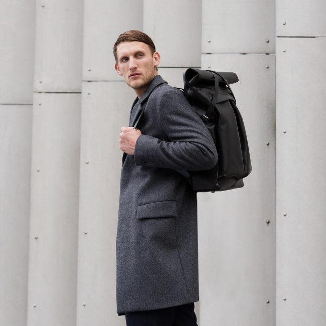 11 Black Backpack & Long Grey Coat