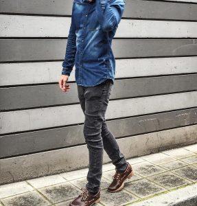 11 Blue Denim Shirt & Slim-Fit Grey Jeans