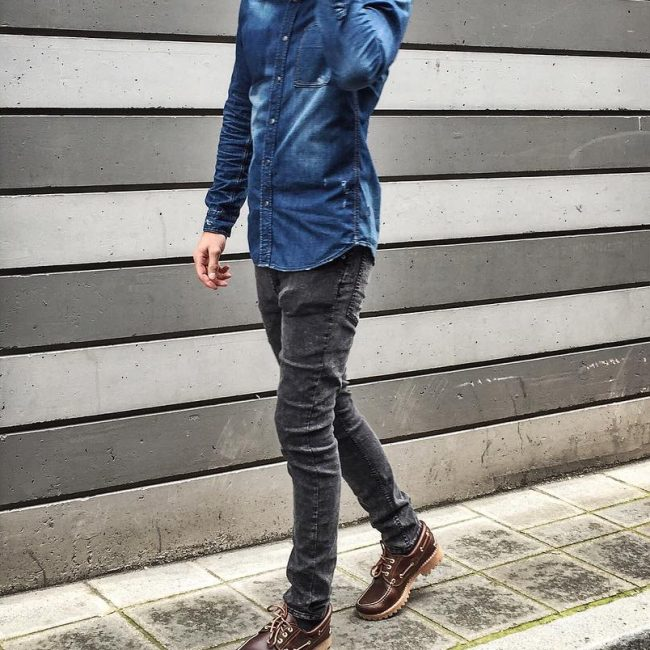 11 Blue Denim Shirt & Slim-Fit Grey Jeans