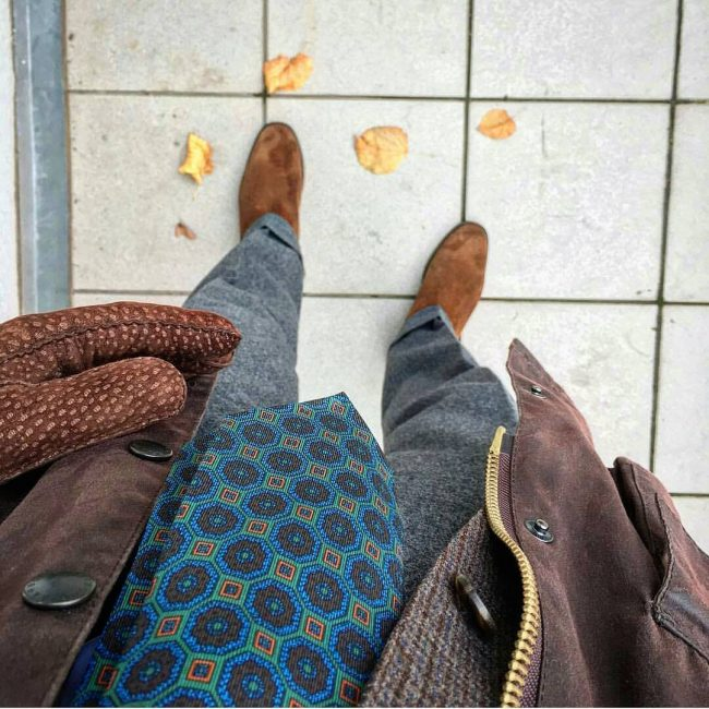 11 Brown Suede Boots & Grey Trousers