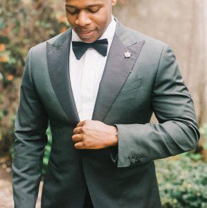 11 Grey Suit Black Bow Tie