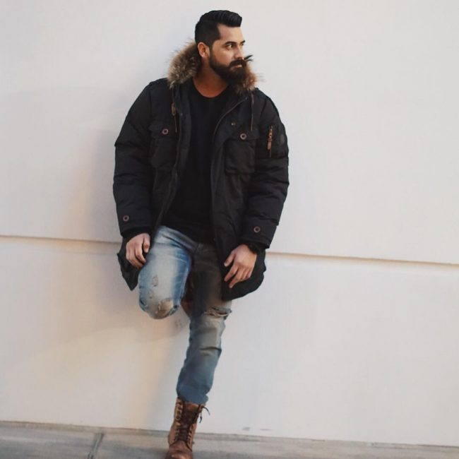 11 Jacket With Distressed Denims