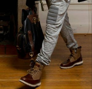 11 Maroon Boots Patched Brown & Grey Pants