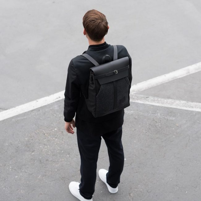 12 Black Backpack & Cream White Canvas Shoes