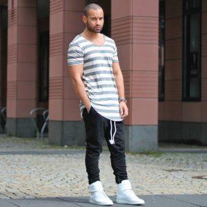 12 Black Joggerand Stripped Long T-Shirt