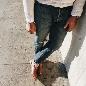 12 Brown Loafers & Cream White Sweater