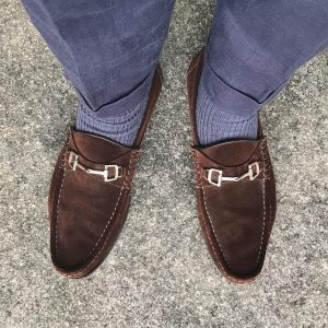 12 Brown Loafers & Grey Trousers