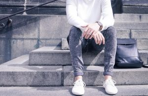12 Grey Washed Jeans with White Sneakers