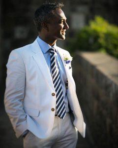 12 Ivory White Italian Cotton Suit