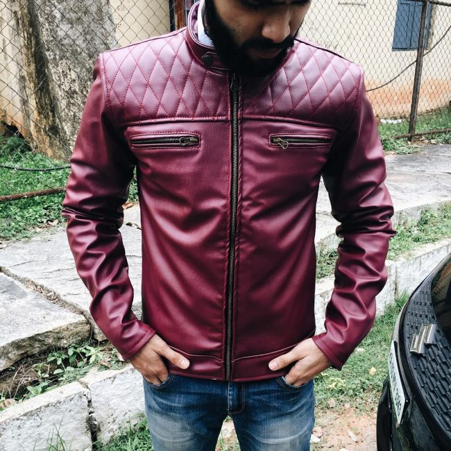 12 SOS Men's Leather Jacket with Jeans