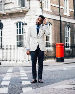 13 Cream White Blazer with Dark Green Pants